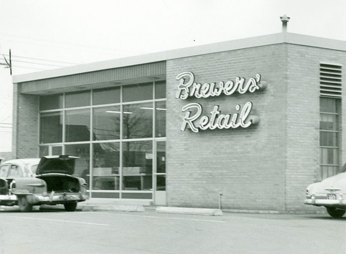 A Brewers' Retail store in Hamilton in 1959. The pre-cursor to The Beer Store, Brewers' Retail was founded in 1927 at the end of prohibition in Ontario. The provincial government wanted to appease temperance advocates and agreed that beer would be sold through a single network of stores. As the government did not want to operate this network itself,  brewers were allowed to organize the Brewers Warehousing Company Ltd., which later became Brewers' Retail and then The Beer Store.  (Photo: Hamilton Historical Collection)