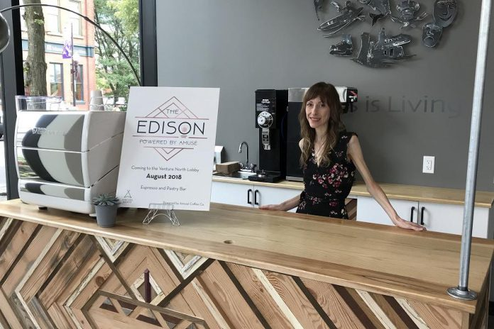 Lindsay Brock, owner of Amusé Coffee Co., opened The Edison in the lobby of the VentureNorth building in downtown Peterborough in August 2018.  (Photo courtesy of the Innovation Cluster)