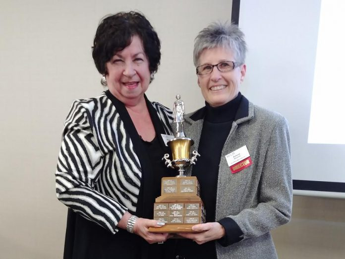 Maureen Tavener (left) presents the WBN Member of the Year Award to Arlene Blunck on May 1, 2019. (Photo: Paula Kehoe)