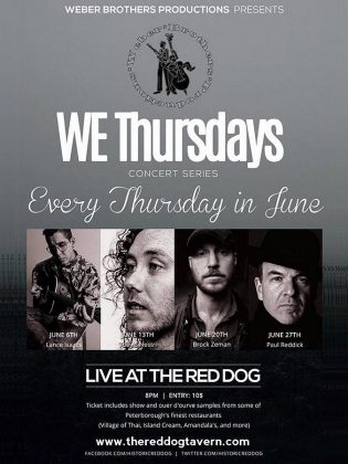 Weber Brothers Productions' WE Thursdays Concert Series takes place during June at the Red Dog in downtown Peterborough. (Poster: Weber Brothers Productions)