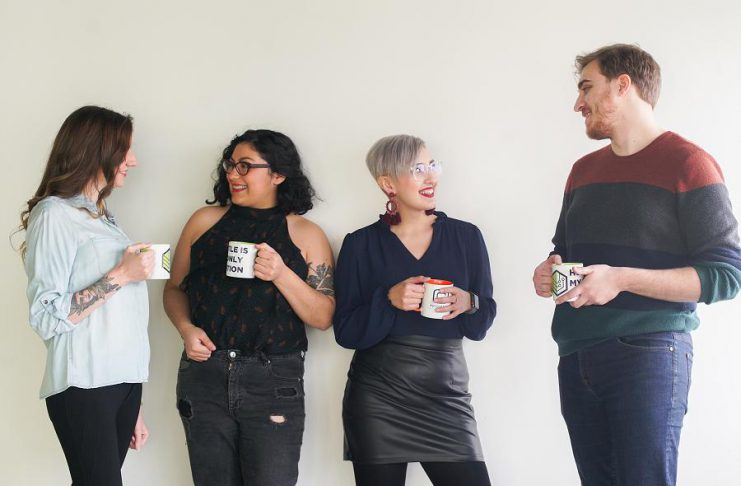 Peterborough's NV Media Productions is rebranding as 705 Creative. Pictured is the team at 705 Creative: graphic designer Emma Scott, co-founders Bianca Nucaro-Viteri and Mercedez Nucaro, and web designer and digital marketer Andrew Revoy. (Photo courtesy of 705 Creative)