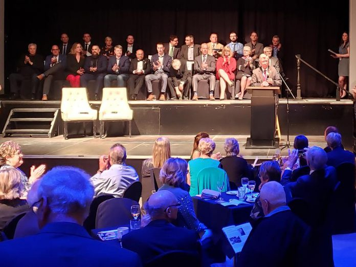 Junior Achievement Peterborough, Lakeland, Muskoka board chair Paul Ayotte speaks at the 2019 Business Hall of Fame induction ceremony at The Venue in downdown Peterborough on May 23. (Photo: Jeannine Taylor / kawarthaNOW.com)