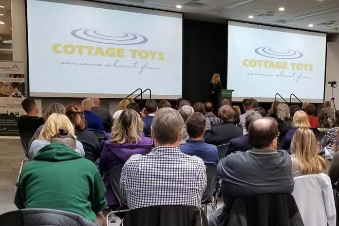 Donna Rork, founder and owner of Cottage Toys, makes her presentation at the semi-finalist pitch event for the Community Futures Peterborough ignite100  entrepreneurial competition held at Fleming College on May 2, 2019. A panel of judges selected Cottage Toys, Goodwin Metal Products Limited, and Cambium Consulting & Engineering as the three finalists out of a field of eight semi-finalists. (Photo: Community Futures Peterborough / Facebook)