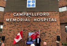 Campbellford Memorial Hospital president and CEO Varouj Eskedjia with Northumberland—Peterborough South MPP David Piccini, who announced a $5 million investment in the hospital on May 22, 2019. (Supplied photo)