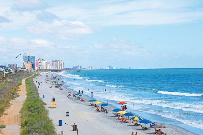 The soft white sand of Myrtle Beach stretches along the Atlantic for 96 kilometres. The best views of the Grand Strand are from the top of the 187-foot-high SkyWheel, the centrepiece of the Oceanfront Boardwalk and Promenade. (Supplied photo)