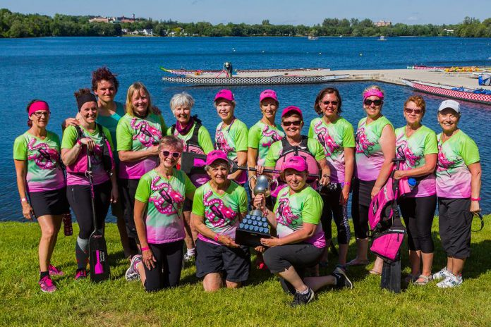 Survivors Abreast hosts Peterborough's Dragon Boat Festival, where the team will be paddling for its 19th year on June 8, 2019. (Photo courtesy of Peterborough's Dragon Boat Festival)