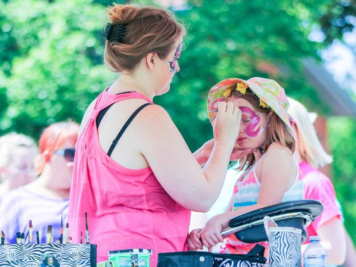 The free Family Fun Zone features loads of fun activities, including face painting, for the entire family. (Photo: Linda McIlwain / kawarthaNOW.com)