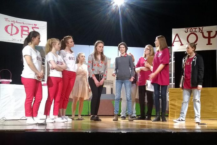 The two opposing sororities compete for pledges: Lena Ross, Sarah Theberge, Jordan De Groot, Hunter Sanderson , Hannah Boyes, Annika Goeckel, Victoria Bell, Taite Cullen, and Eden Ferris. (Photo: Sam Tweedle / kawarthaNOW.com)