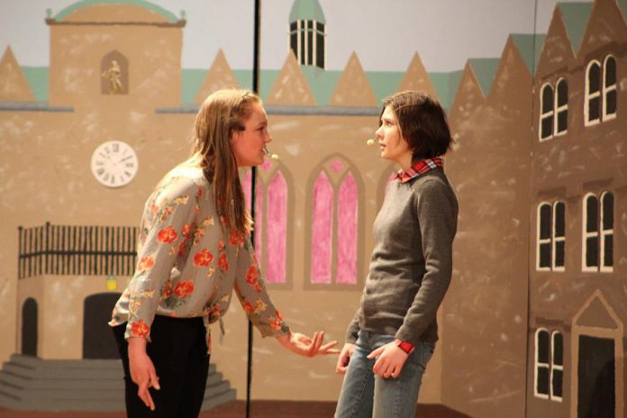 Hannah Boyes and Annika Goeckel as Delany and Sam, whose friendship is in jeopardy when they join different sororities.  (Photo: Enter Stage Right)