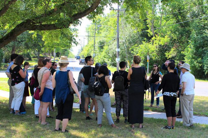 Residents of the Jackson Park Brookdale area in Peterborough enjoy a guided walk around their neighbourhood. Join a Jane's Walk and be part of resident led conversations happening across Peterborough this May. (Photo: Karen Halley)
