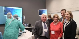 Martin, Denise, and Charles Pick with Dr. Rardi van Heest at the official dedication of the new Martin and Denise Pick Learning Centre at Peterborough Regional Health Centre on May 14, 2019. They toured the clinical training room, where a simulation of minimally invasive surgical training was demonstrated. (Photo: Natasha Roulston / Peterborough Regional Health Centre)