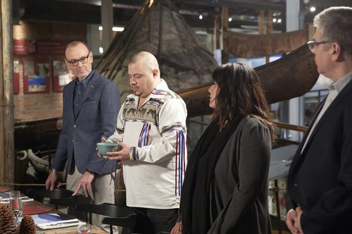 "In the ""Gifts from the Earth"" episode of MasterChef Canada filmed at The Canadian Canoe Museum, Chef Johl Whiteduck Ringuette discusses the Three Sisters of Indigenous agriculture with MasterChef Canada judge Chef Michael Bonacini and guest chefs Mandie Sellar and David Wolfman. The episode airs on CTV at 9 p.m. on May 27, 2019. (Photo courtesy of CTV)"