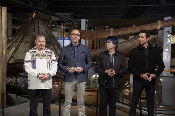 MasterChef Canada judges outline the Team Challenge for the home cooks to honour First Nations Cuisine. Pictured (left to right): Chef Johl Whiteduck Ringuette with MasterChef Canada judges Chef Michael Bonacini, Chef Alvin Leung, and Chef Claudio Aprile. (Photo courtesy of CTV)