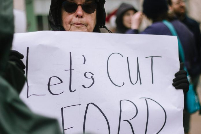Peterborough May 1st General Strike Against Ford on May 1, 2019.  (Photo: Thayla Fortin)