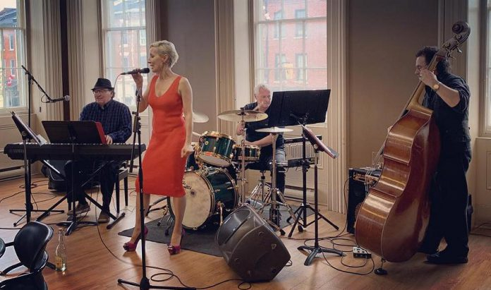 Tanya Wills performing with The Bruce McGregor Trio (Bruce McGregor, Daryl Knox, Howard Baer) in Cobourg on May 28, 2019. (Photo: Tanya Wills / Facebook)