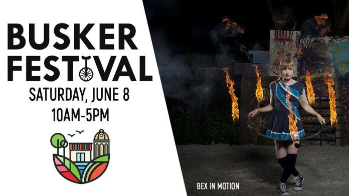 The Busker Festival in downtown Cobourg on June 8, 2019 includes live music and a hula hoop fire show from Bex in Motion. (Graphic: Downtown Cobourg)