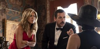 "In the Netflix original mystery-comedy film ""Murder Mystery"", Adam Sandler and Jennifer Aniston are on a European vacation when they become the prime suspects in the murder of an elderly billionaire. It premieres on Netflix Canada on June 14, 2019. (Photo: Netflix)"