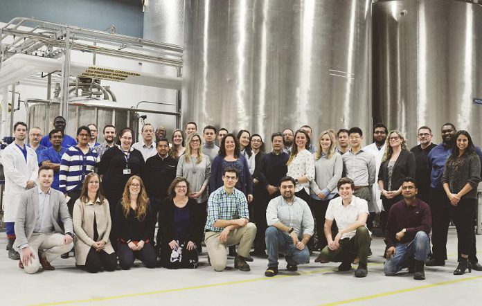 The team at Peterborough bio-tech startup Noblegen, which has secured $25 million in Series B financing led by Richardson Ventures Inc. and BDC. Noblegen co-founder, CEO, and chairman Adam Noble is pictured in the front row at the far left. (Photo: Noblegen)