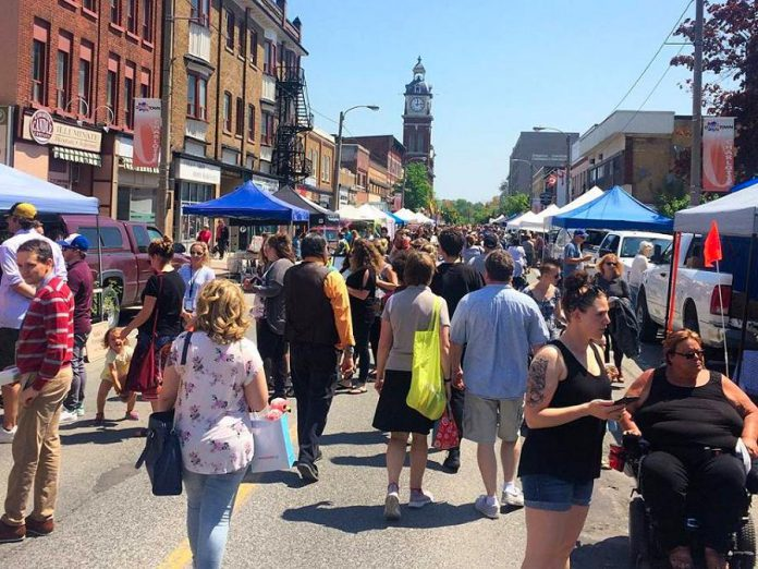 Every Wednesday, Charlotte Street between Louis and George Streets in downtown Peterborough is transformed into the pedestrian-friendly Peterborough Downtown Farmers' Market. (Photo:  Peterborough Downtown Farmers' Market)