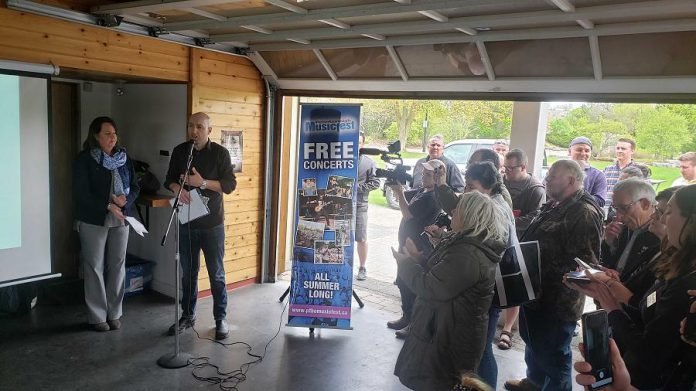 Tracey Randall and Vince Bierworth announcing the performer line-up for the 33rd season of Peterborough Musicfest, on May 22, 2019 at the Silver Bean Café in Millennium Park. (Photo: Jeannine Taylor / kawarthaNOW.com)