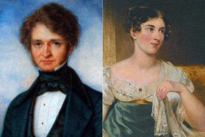 "Composer Hector Berlioz in an 1840 portrait by Pierre Paul De Pommayrac, 14 years after he saw a performance by Irish actress Harriet Smithson (pictured in a portrait by George Clint) and fell in love with her. His unrequited love was the inspiration for his 1830 program symphony ""Symphonie fantastique: Épisode de la vie d'un artiste ... en cinq parties"" (Fantastical Symphony: An Episode in the Life of an Artist, in Five Parts). Smithson eventually responded to the Berlioz's advances and the couple married in  in 1833. (Public domain photos)"