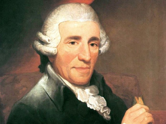Detail of a portrait of composer Joseph Haydn by Thomas Hardy in 1791, two or three years before he wrote Symphony No. 100,   popularly known as the Military Symphony.  The Peterborough Symphony Orchestra will perform this piece at its season finale concert on May 25, 2019.  (Public domain photo)
