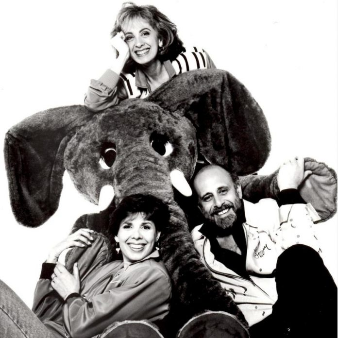 "Sharon, Lois & Bram (Sharon Hampson, the late Lois Lillenstein, and  Bram Morrison) in a publicity photo for their CBC children's series ""The Elephant Show"". (Photo: Jim Allen)"