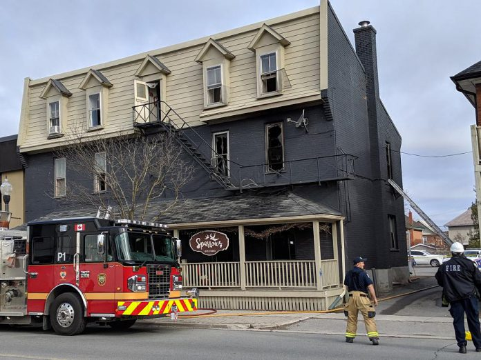 A business in East City was temporarily closed following a fire in a second-floor residential unit on April 30, 2019, thieves broke into the business and stole items including cash. The break-in took place sometime between May 1 and 6, 2019. (Photo: Bruce Head / kawarthaNOW.com)