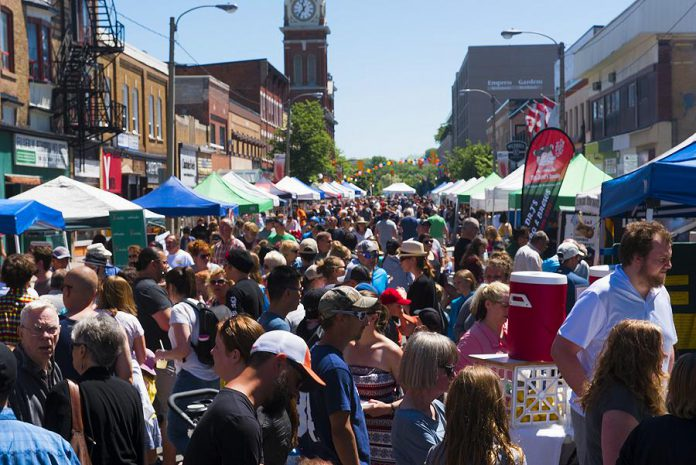 On Saturday, June 1st, the 2019 Taste of Downtown features food from 24 local restaurants, a beer and wine garden, live music from local performers, children's activities, and a sidewalk sale on Charlotte Street in downtown Peterborough. (Photo courtesy of Peterborough DBIA)