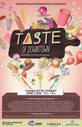 Taste of Downtown takes place from 11 a.m. to 5 p.m. on June 1, 2019  on Charlotte Street in downtown Peterborough. (Poster courtesy of Peterborough DBIA)