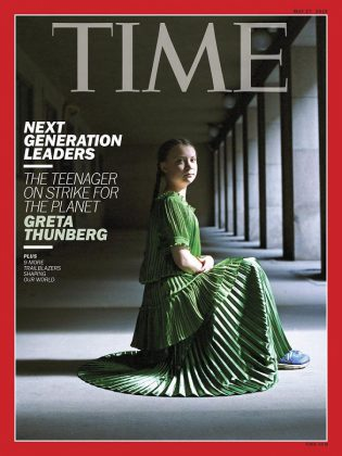 There is increasing public demand for political action on the climate crisis, including by young people largely thanks to the efforts of Swedish teenager and activist Greta Thunberg, who is featured on the May 2019 cover of Time magazine. (Photo: TIME)