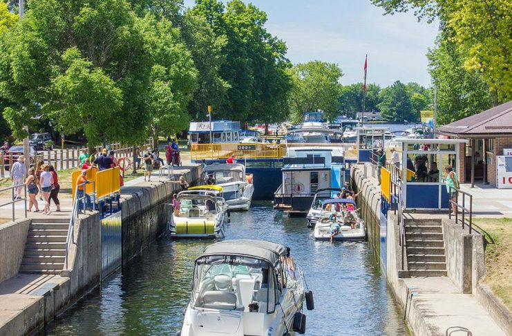 Lock 32 of the Trent-Severn Waterway in Bobcaygeon. Due to high water levels and flows, Parks Canada has delayed the opening of the Trent-Severn Waterway for the 2019 season by one week until Friday, May 24th. (Photo: Parks Canada)