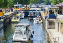 Boaters navigate through Lock 32 of the Trent-Severn Waterway in Bobcaygeon. After a week's delay, the rent-Severn Waterway opened for the 2019 navigation season on Friday, May 24th. (Photo: Parks Canada)