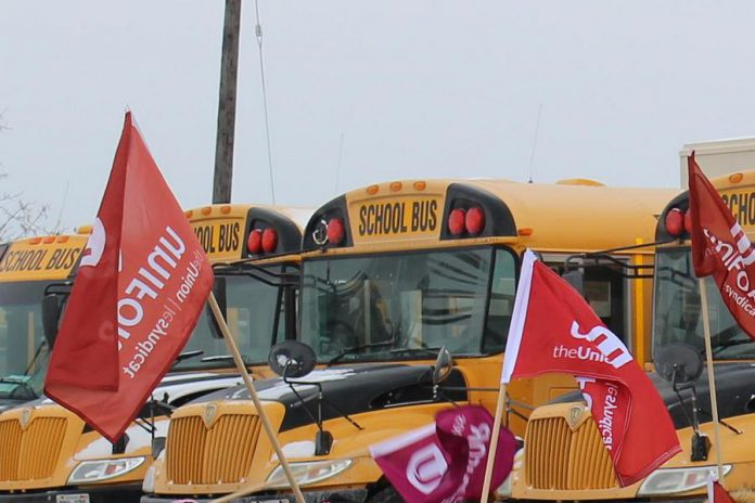 Unifor, the largest union representing school bus drivers in Ontario, will be in Peterborough on May 28, 2019 to protest the process for awarding school bus contracts in Ontario. (Photo: Unifor)
