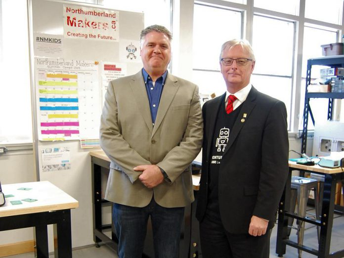 Northumberland Makers president Phil Mandryk with Cobourg mayor John Henderson.  (Photo: April Potter / kawarthaNOW.com)