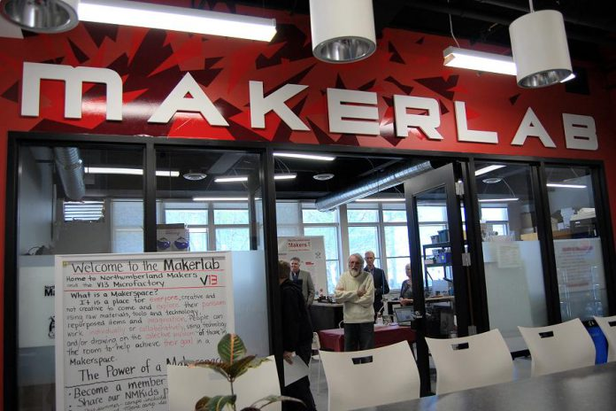 The MakerLab at the Venture13 Innovation and Entrepreneurship Centre in Cobourg, which celebrated its one-year anniversary on May 21, 2019. (Photo: April Potter / kawarthaNOW.com)