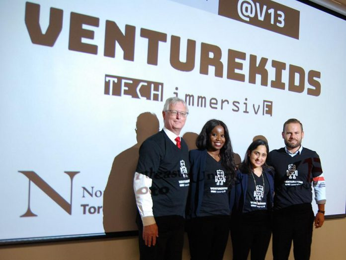 Cobourg Mayor John Henderson, Cobourg native and VentureKids founder and CEO Takara Small, Northeastern University Toronto campus CEO Aliza Lakhani, and  Northumberland-Peterborough South MPP David Piccini. (Photo: April Potter / kawarthaNOW.com)