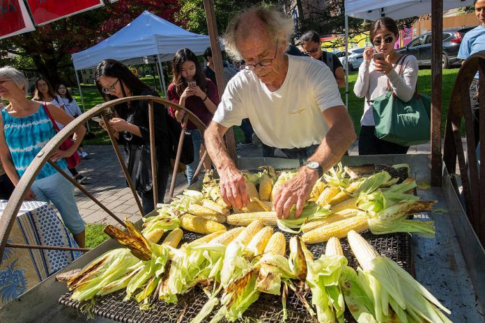 Artist Ron Benner, whose multimedia installation 'Trans/mission: Barley-Corn-Maize' is on display all year in the Loft Gallery at Visual Arts Centre of Clarington, will be serving up free freshly roasted corn and barley soup on July 19th.  (Photo courtesy of the Visual Arts Centre of Clarington)