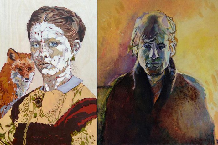 Detail of portraits by Henry Melissa Gordon (left) and Rocky Green (right). 'Two Solitudes' at the Wildewood Gallery in Maynooth will feature work by both artists. (Photos courtesy of the artists)