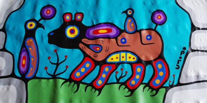 "'Woodland Bear & Bird' (acrylic on canvas, 31 x 67"") by Christian Morrisseau. (Photo courtesy of Gallery on the Lake)"