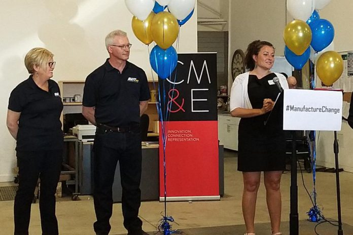 Peterborough Mayor Diane Therrien speaks at AVIT Manufacturing's facility at 1961 Fisher Drive in Peterborough during a rebranding announcement on June 6, 2019 as company founders Rhonda and Don Barnet look on.  Peterborough-Kawartha MP Maryam Monef also made remarks via video. (Photo courtesy of Mega Experience)