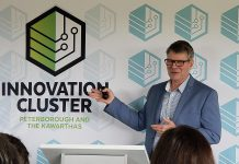 Innovation Cluster president and CEO John Gillis shares the highlights of the economic development organization over the past year during the Innovation Cluster's annual general meeting on May 30, 2019. (Photo courtesy of the Innovation Cluster)