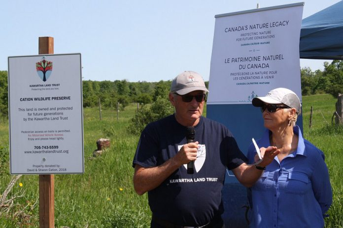 Dave and Sharon Cation speak at the grand opening of the Cation Wildlife Preserve near Coboconk  on June 22, 2019. The Cations donated the 669-acre to Kawartha Land Trust to ensure the property remains protected in perpetuity. (Photo: Office of Maryam Monsef)