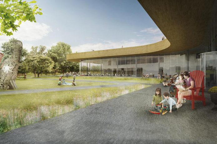 A coneptural rendering of the outdoor terrace at The Canadian Canoe Museum's new 85,000-square-foot facility to be built beside the Peterborough Lift Lock on the Trent-Severn Waterway. The terrace will be named in honour of Toronto-based philanthropists George and Kathy Dembroski, who have donated $500,000 to the museum's capital campaign for the new facility. (Supplied graphic)