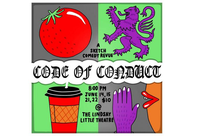 "The show's title is ""Code of Conduct"" because most of the sketches deal with a societal norm that gets violated in some way, such as dating mishaps. (Poster: Lindsay Little Theatre)"