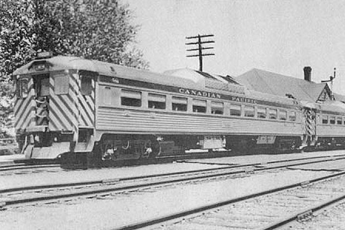 A CPR passenger train stopping in Peterborough in 1955. (Photo: Ray Corley)