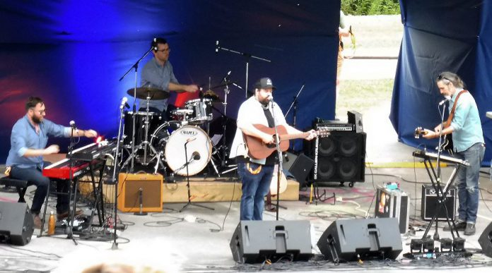 Donovan Woods and The Opposition performing a free concert at the 2017 Peterborough Folk Festival. (Photo: Anne Delong)