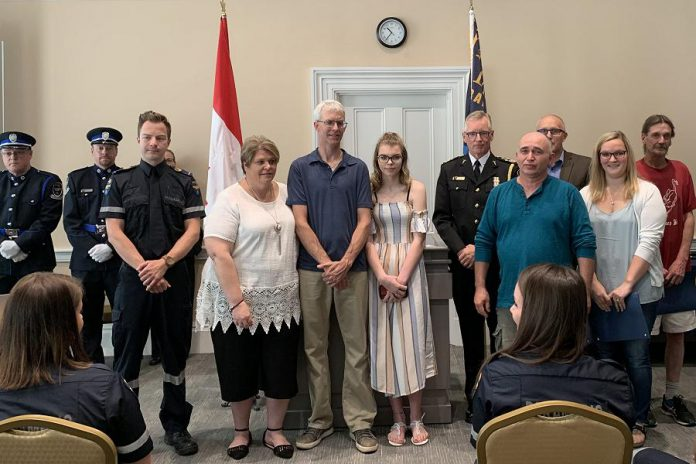At a ceremony at Kawartha Lakes City Hall in Lindsay on June 21, 2019, Colleen Brandse, Kevin Bell, Shane Troyan, Heather Lively, Patricia Bell, Jack Faulkner, Lynne Johnston, and Mary Dowzer-Verbruggen were recognized for their efforts to help an elderly man who collapsed in Cambray in May. (PHoto courtesy of City of Kawartha Lakes)