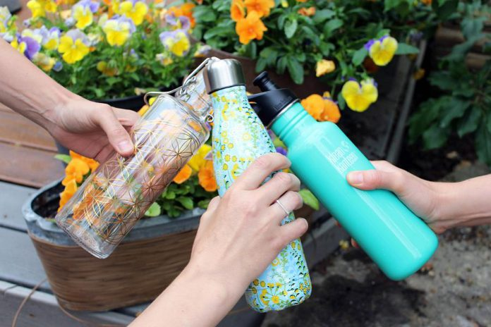 There are many reusable water bottle options to suit your own personal and family's needs and to fit your environmental goals for a waste-free lifestyle! Glass Soul bottles, and stainless steel S'well or Klean Kanteen options are available at the GreenUP Store. (Photo courtesy of GreenUP)