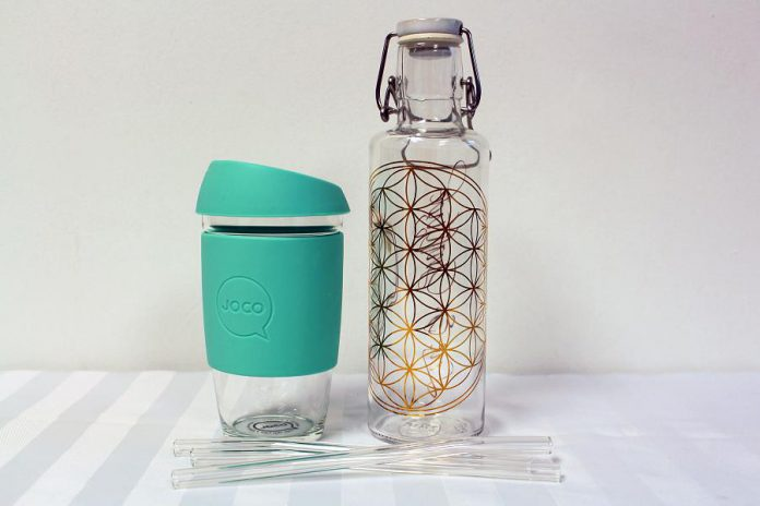 Glass water bottles, cups, and straws are sustainable options that are easy to keep clean and can last a lifetime if handled with care. These options are available at the GreenUP Store. (Photo courtesy of GreenUP)